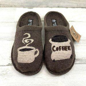 Women's Haflinger Coffee Earth Slippers Slip On Br